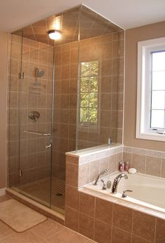 interesting-bathroom-designs-decorating-with-brown-tile-ceramic-wall-and-floor-along-glass-shower-also-ceiling-lamp-plus-white-bathtub-also-chrome-faucet-under-white-glass-window-as-well-as-bathroom-d.jpg (475×700)