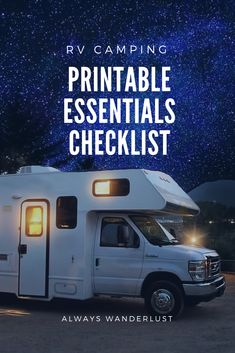RV Camping Essentials - With a printable checklist! - RV Camping Essentials – With a printable checklist! Rv Camping Checklist, Rv Camping Tips, Camping Needs, Camping List, Camping Essentials, Yurt Camping, Camping Recipes, Family Camping, Outdoor Camping