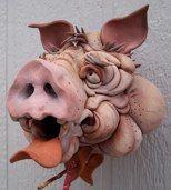 Douglas Fey Pottery birdhouse 11WP06br /unglazed