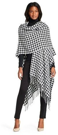 $24, Oversized Houndstooth Blanket Wrap Scarf Black And White. Sold by Target. Click for more info: https://lookastic.com/women/shop_items/382272/redirect