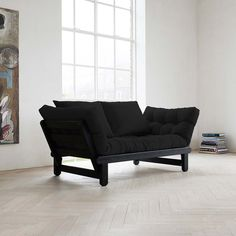 The Beat Black Frame Futon gives your living space a functional and contemporary update. This futon offers a sleek shape, modern design, and. Sofa Bed Blue, Futon Sofa Bed, Futon Mattress, Futon Bedroom, Sofa Sofa, Diy Sofa, Futon Design, Canapé Design, Futons