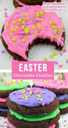 Easter Chocolate Cookies Easter Chocolate Cookies - yummy chocolate cookies covered with our deliciously creamy Best Buttercream Frosting. These yummy frosted Easter cookies are easy to make and super Easy Easter Desserts, Easter Recipes, Holiday Desserts, Dessert Recipes, Easter Cookies, Easter Treats, Easter Food, Chocolate Chip Cookies, Easter Chocolate