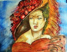 Divatos őszi kalap. Akvarell, papír, 30x36cm.
