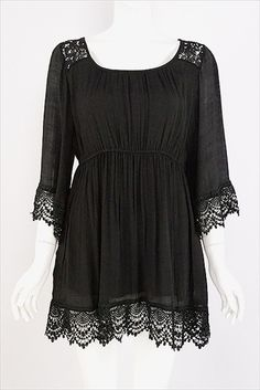 Black Plus Size Boho Boutique 3Q Sleeve Top Shirt Missy Lady Clothing Tunic1X 2X #BHE #KnitTop #Casualchic