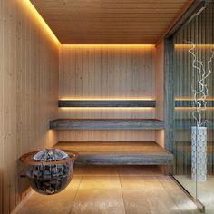 Sauna Luxure on Behance Sauna Design, Home Gym Design, House Design, Home Spa Room, Spa Rooms, Sauna House, Sauna Room, Relax Room, Relaxation Room