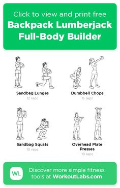 Free workout: Backpack Lumberjack Full-Body Builder – 4-min abs, legs exercise routine. Try it now or download as a printable PDF! Browse more training plans and create your own exercise programs with #WorkoutLabsFit · #AbsWorkout #LegsWorkout Don't need to go to the gym, just use your bodyweight and take a few minutes a day, 30 Day Weight Loss Challenge will greatly help to get a perfect bikini body! 30 Day Workout Plan, Gym Workout Plan For Women, Leg Day Workouts, Fitness Workout For Women, Ab Workout At Home, Easy Workouts, Free Workout, At Home Workouts, Workout Guide