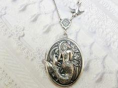 Silver Locket Necklace  The ORIGINAL MERMAID LOCKET  by birdzNbeez, $34.00