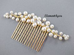 Bridal hair comb gold branches pearl flower by Element4you on Etsy, $26.95