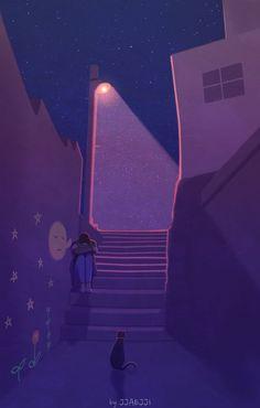 Art by Jjaejji Art And Illustration, Illustrations And Posters, Aesthetic Art, Aesthetic Anime, Aesthetic Iphone Wallpaper, Aesthetic Wallpapers, Digital Foto, Spaceship Art, Anime Art Girl