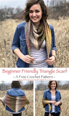 Beginner Friendly Triangle Scarf- using only 1 skein of yarn and requires only basic crochet knowledge. Free pattern from A Purpose and A Stitch