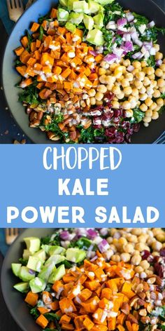 This Chopped Kale Power Salad with Lemon Tahini Dressing has everything you need! It's filing, healthy and delicious and is really great for meal prep! It's packed with tons of vegetables and protein and will really fill you up! You can enjoy it as a lu High Protein Vegetarian Recipes, Healthy Meal Prep, Healthy Eating, Healthy Recipes, Vegan Vegetarian, High Protein Salads, Vegetarian Italian, Healthy Protein, Salad With Protein