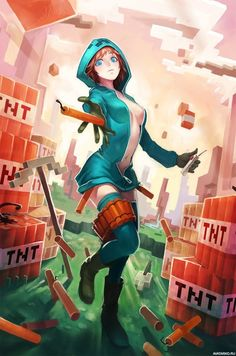 Девушка в костюме крипера бросается динамитом — Картинки для аватара