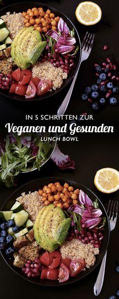 5 steps to a vegan and healthy lunch bowl - ValerieHusemann.de - mindfulness, self-love, mindset & vegan food Healthy Bowl, Healthy Eating, Vegetarian Recipes, Healthy Recipes, Lunch Recipes, Healthy Foods, Couscous, Food Inspiration, Clean Eating