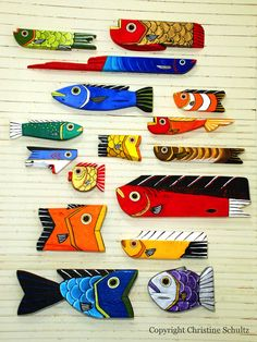 Fish Art Reclaimed Wood Painted Orange and Yellow Handmade Wall Hanging