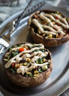 "Stuffed Large Portobella Mushrooms  With the Cashew Rosemary ""Cream"" There are some days that recipe inspiration does not come easy. And then sometimes, you get lucky. You see an ingredient and a whol"