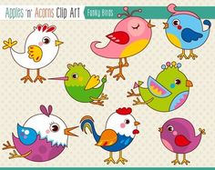 Funky Birds Clip Art - color and outlines $