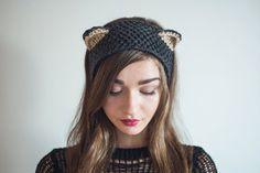 Knit Silver Fox Headband, black cat. Fall/Winter Ear-Warmer. Grey/ Black. Hand…