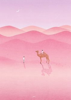 inspiration for masked and sponged landscape lines . desert scene in pinks . stamped camel with shadow . Buch Design, Art Moderne, Art Graphique, Illustrations And Posters, Art Inspo, Concept Art, Art Drawings, Illustration Art, Artsy