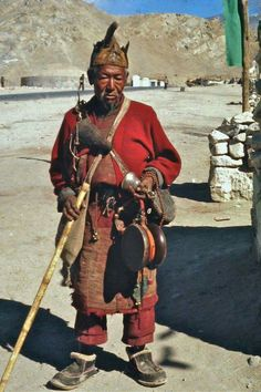 Wandering Chödpa in Ladakh, 1979 This photo actually captures a real Chöd practitioner wandering from place to place with all his belongings such as damaru, bell, hat and walking stick with him, camping outside in the wilderness and haunted places such as charnel grounds and sacred sites of flesh-eating cannibals and firece flesh-eating dakinis...