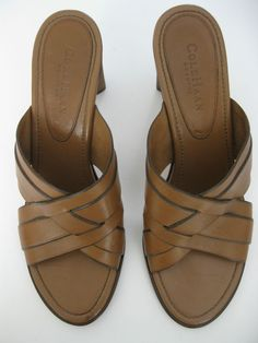 COLE HAAN COUNTRY WOMANS BROWN LEATHER HEELED SANDALS SIZE 9 AA #ColeHaan #Sandals