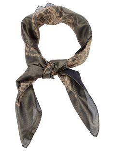 Metallic brown silk scarf from Golden Goose Deluxe Brand featuring a  contrasting black foulard print and a finished hem ef80556d516