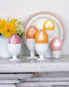 <34 of 57 >  Botanical Eggs  Eggs adorned with the delicate shapes of greenery and herbs announce the arrival of spring. Blown-out eggs work best for this project, but hard-boiled eggs can also be used.  How to Make Botanical Eggs