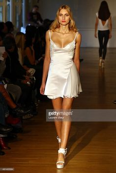 A model walks the runway during the Fatima Lopez show as part of the Paris Fashion Week Womenswear Spring/Summer 2016 on October 5, 2015 in Paris, France.