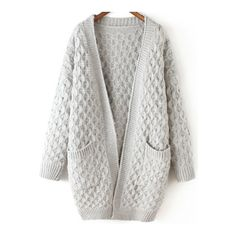 SheIn(sheinside) Light Grey Long Sleeve Chunky Pockets Cardigan ($29) ❤ liked on Polyvore featuring tops, cardigans, sweaters, jackets, outerwear, blue, long sleeve tops, cable knit cardigan, long sleeve cardigan and cable knit cocoon cardigan