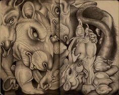 """artofbrotherrat: """" """"Rats"""" Based on the Pearl Jam song of the same name Graphite in Moleskine """""""