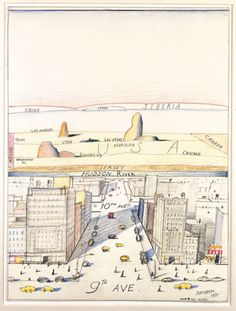 Early version (before his New Yorker cover, 1976) of View of the World from 9th Avenue by Saul Steinberg, 1975