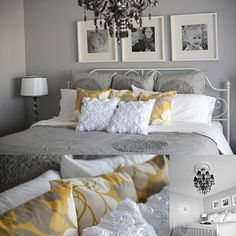 Love the colors and photos above the bed. Maybe aqua instead of yellow.