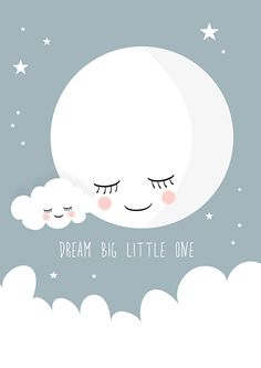 Poster Dream big little one grijs A4 | Posters kleur | Roozje