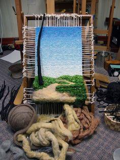 Dimensional Weaving - Martina Celerin fiber art: Taking the Redeye to Ohio Tablet Weaving, Weaving Art, Loom Weaving, Hand Weaving, Fabric Weaving, Framed Fabric, Fabric Art, Driftwood Frame, Tapestry Loom