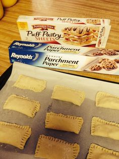 Cocoa/chocolate pastries:  You will need: parchment paper, chocolate chips and pastry sheets  Break dough into 3 sections then cut each one into 3 pieces. Put chips into the dough and fold over and close each side with a fork. Bake at 400 degrees for about 10 minutes. They make about 18 pastries.