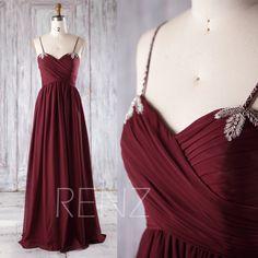 2017 Wine Chiffon Bridesmaid Dress Ruched Chiffon Sweetheart