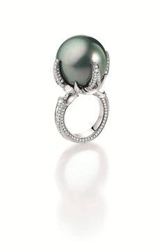 Pearl and diamond ring by Gellner
