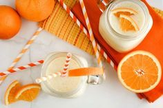 A refreshing Pineapple Orange Smoothie that adds a tropical twist to the classic flavors of an Orange Creamsicle! Put your feet up and relax – it'll turn any day into a vacation day. Plus, you can feel good about what you're drinking … it's loaded with fruit, protein, and Vitamin C – so delicious, so healthy! Whole Food Recipes, Snack Recipes, Drink Recipes, Healthy Recipes, Snacks, Healthy Smoothies, Healthy Drinks, Healthy Food, Good Food