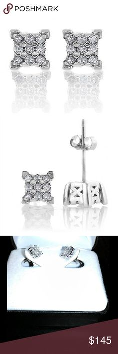 0.25CT Natural Diamond Square Serling Silver Studs 0.25 Carat Natural Diamond Square Stud Earrings in Sterling Silver						These elegant square earrings glisten with 18 icy round-cut diamonds totaling 0.25 carats. Crafted of sterling silver, these stud-style earrings secure with butterfly backs on traditional post mounts. 				Diamond Info							 Carat Weight: 0.25 Cttw 					Clarity: I2-I3 								Color I-J 								Height: 6mm							 Width:6mm Jewelry Earrings