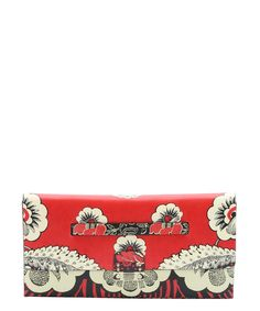 The Valentino red and black floral print leather large clutch at Bluefly.