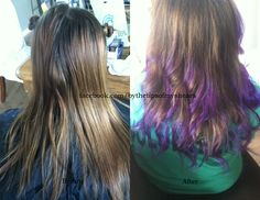 to achieve after look: logics 5N + 10 vol. ombre last 4 inches of hair, then pravana vivids in violet.