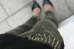 camouflage pants with studs