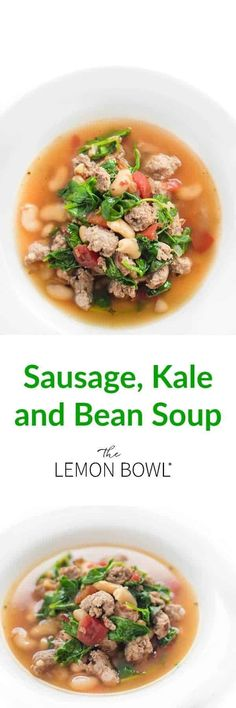 The best comfort food this Sausage, Kale, and Bean soup is full of vegetables and protein to keep you full #mealprep #soup #healthyrecipes #dinner Healthy Soup Recipes, Easy Recipes, Chili Recipes, Popular Recipes, Healthy Eats, Delicious Recipes, Healthy Foods, Free Recipes, Snack Recipes