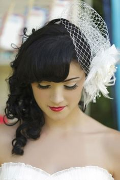 birdcage veil  (Vicki)-hairstyle and veil combo (julie) maybe this position?!