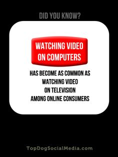 DID YOU KNOW: Watching video on computers has become as common as watching video on television among online consumers http://topdogsocialmedia.com