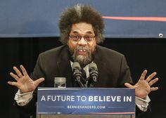 Dr. Cornel West introducing Democratic presidential candidate Bernie Sanders at a January campaign event in Iowa.