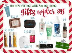 Young Living essential oil Christmas gift ideas under $25