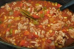 Weight Watchers Slow Cooker Chili in the crockpot with corn, chicken, and broth.