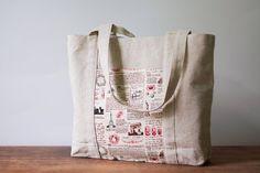 Beach bag. Linen tote bag. Shopping bag. Eco bag. Linen by BluCase