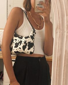 Feb 2020 - I am loving the vintage vibes from this outfit. This cow print purse is absolutely adorable. Accessories are forever completing my outfits. Aesthetic Fashion, Aesthetic Clothes, Look Fashion, Fashion Beauty, Aesthetic Outfit, Winter Fashion, Aesthetic Style, 2000s Fashion, Retro Aesthetic