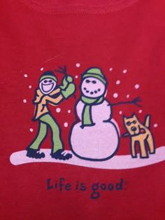 "Life is good brand women's long sleeved T-Shirt in red. ""Life is good"""